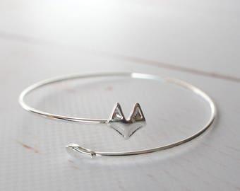 Fox Bracelet, Silver tone adjustable Bangle, Simple Stackable jewellery/ Fox Jewelry