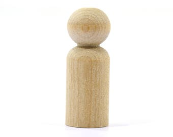 """30-Boy (1-11/16"""") Wooden Peg Dolls-Solid Hardwood Natural Unfinished High Quality Turnings-Ready for Paint or Stain-Waldorf Wooden People"""