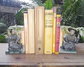 Rare, Japanese, Asian, Chinese Mid Century Modern Bookends, Oriental themed decor