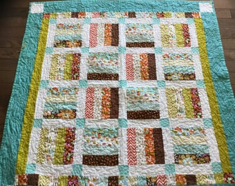 Baby Quilt #303 Teal