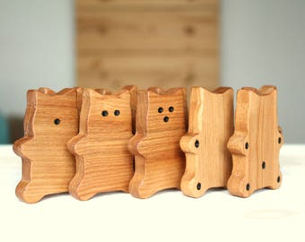 Wooden dominos, CHAMINOS*, cats, wooden toys, learning game, preschool