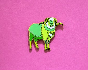 Sheep / Ram Chinese Zodiac Pin with Rubber Clasp // Hard Enamel, Cloisonne, Accesories, Flair