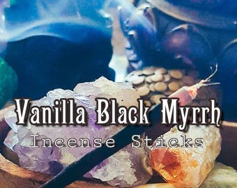 VANILLA BLACK MYRRH Incense - Sensual Incense - 20 Incense Sticks - Incense Offering - Housewarming Gift - Love Incense