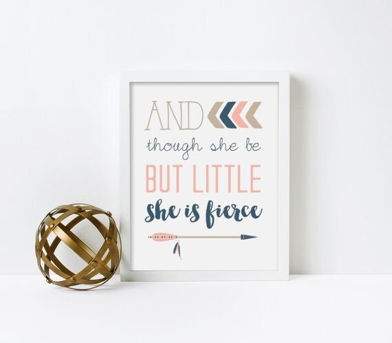 Nursery Wall Art, And Though she be but Little she is Fiernce, Baby Girl, printed, canvas, framed #524