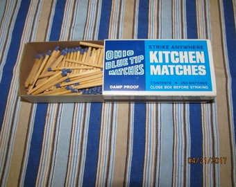 Vintage Box Ohio Blue Tip Matches Wood Wooden Matchsticks Damp Proof 250 Box