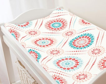 Carousel Designs Coral and Teal Modern Medallion Changing Pad Cover