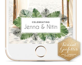 Tropical Watercolor Wedding Snapchat Geofilter | Custom  Geofilter | Birthday  Geofilter | Bridal Shower Geofilter | Instant Geofilter