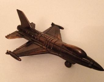 ON SALE Vintage Hong Kong Die-Cast Metal Pencil Sharpener -- Plane Fighter Jet