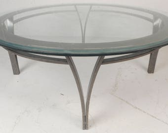Round Mid-Century Modern Metal and Glass Coffee Table (7513)NJ