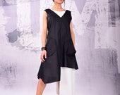 Dress, Tunic dress, black and white dress, cotton dress, sleeveless dress, asymmetric dress, layered dress by UrbanMood - UM-130-CO