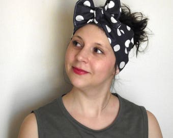 Upcycled Head Scarf - Navy with White Polkadots