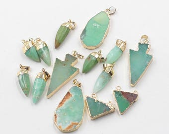 Natural Jade Pendants -- With Electroplated Gold Edge Green Chrysoprase Supply Wholesale Charm YHA-240