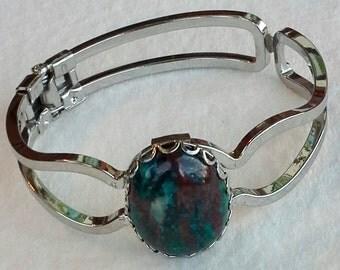 Vintage, split band, hinged, cuff bracelet sterling silver multicolor jasper.