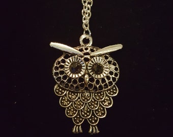 Silver Owl Necklace- Long Chain