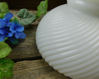Vintage Mid Century Swirl Milk Glass Student Lamp Shade