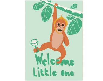 Cute and funny babyshower card - Welcome little one!  - baby orang utan - boy and girl babyshower card - adorable and unique