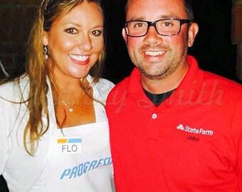 Combo: Progressive White Flo Apron & Jake State Farm Red Shirt with Flo name badge, head band, and I <3 insurance pin