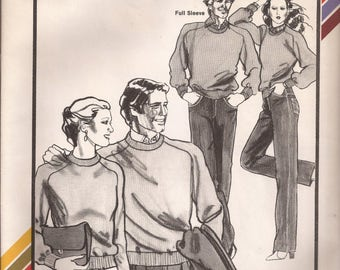 Stretch & Sew 640 Men's and Ladies' Saddle Shoulder Sweaters Vintage 1980