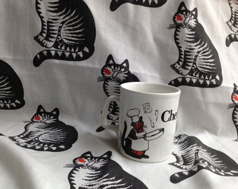 Kliban Bed Sheet, Mug, Black & White Cat, Red Lips Kiss, Chef Cat, Orange and Black Tabby Cat, Full, Double, Flat, Mice Cheese, Fry Pan