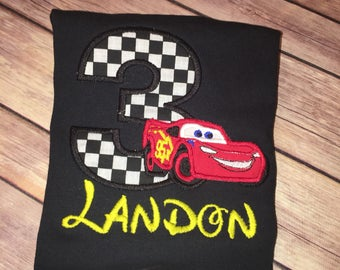 Lightning McQueen Inspired Birthday Shirt, Cars Inspired Birthday Shirt Toodler Birthday Shirt