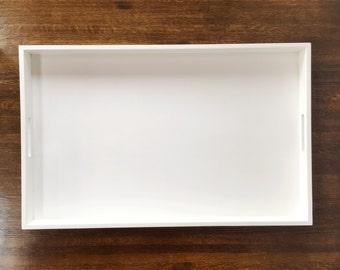Large White Glossy Tray, White Home Decor, Serving Tray, Ottoman Tray, Coffee Table Tray, Cosmetics Tray, Decorative Tray