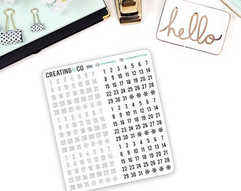 Date Dot Sticker Set for a Variety of Planners, Number Planner Stickers - DC02