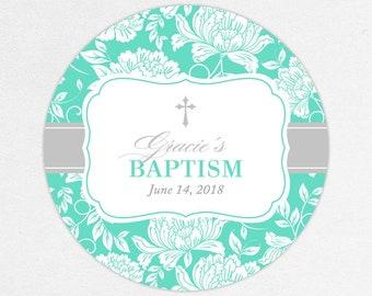 Baptism Favor Tag, Baptism Favor Label, Christening Favor Tag, Christening Favor Label, Printed, Floral, Damask, Lace, Girl, Blue, Gracie