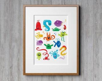 Monster Wall Art, Monster Nursery, Kids Room Monster, Kids Illustration, Monster Art, Childrens Room Decor, Nursery Wall Art, Childrens Art