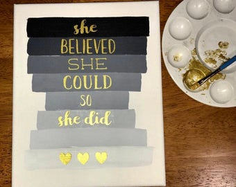 Hand Painted Canvas Quote 8x10