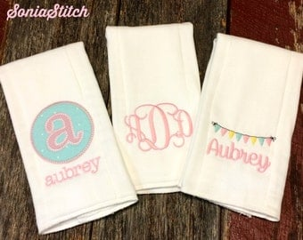 Personalized Embroidered Burp Cloth Set for Girl - Set of 3 - appliqued burp cloths