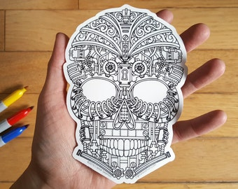 Large Vinyl Coloring Sticker - Steampunk Skull - Adult Coloring - Hand Drawn Design