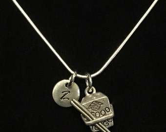 Chinese Takeout Sterling Silver Necklace, Chopsticks Sterling Silver Necklace, Fast Food Sterling Silver Necklace qb107