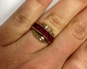 ladies Vintage Ruby Ring 10 k Rose Gold