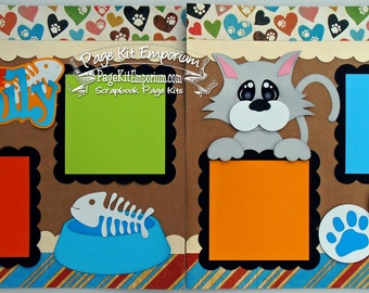 Scrapbook Page Kit Pet Cat One Of The Family Fish Boy Girl 2 page Scrapbook Layout 96