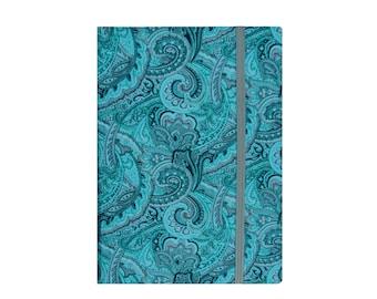 Kindle Paperwhite Cover, Kindle Paperwhite Case, Kindle Case Book, Kindle Cover Hardcover with Pocket, Turquoise Paisley & Gray Quatrefoil