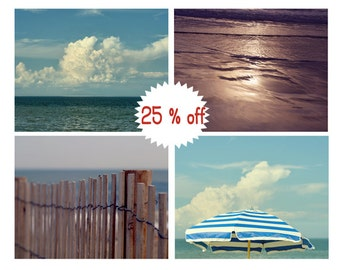 Coastal photography, four beach prints set of 4 gallery wall prints, nautical teal and brown decor pictures, seashore photos, blue turquoise