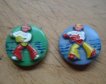 Picture Button # Vintage Button # Fleamarketbuzz
