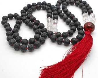 Mala Prayer Beads, Fire and Ice 108 Bead Mala  - Japa Mala, 108 Bead Mala, Tassel Necklace, Prayer Beads, Knotted