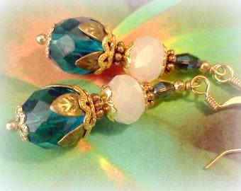 Teal Earrings, Vintage Style Earrings, Handmade Dangles, Victorian Earrings, Blue Earrings, Boho Earrings, Gypsy Earrings, Renaissance ERs