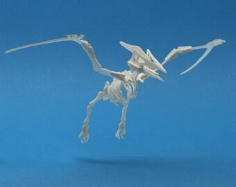 Pterodactyl Tiny Dinosaur Skeleton Bare Bones - Paper Puzzle Sculpture