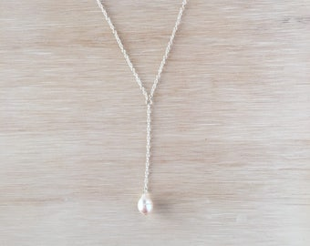 Y Necklace with Light Pink Pearl