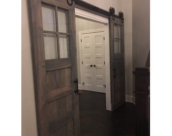 Vintage Custom Made 3 Panel Design Sliding Barn Door W/Glass Windows By  Rustic Luxe