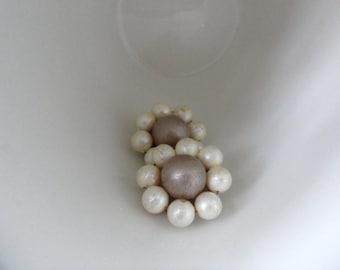 Something Old Mauve Earrings Dusty Purple Distressed Cluster Pearl Earrings Cheap Earrings Cottage Chic Clip on Pearl Earrings Boho Earrings