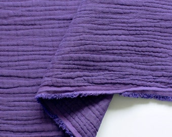 Crinkled Triple Gauze Fabric Purple By The Yard