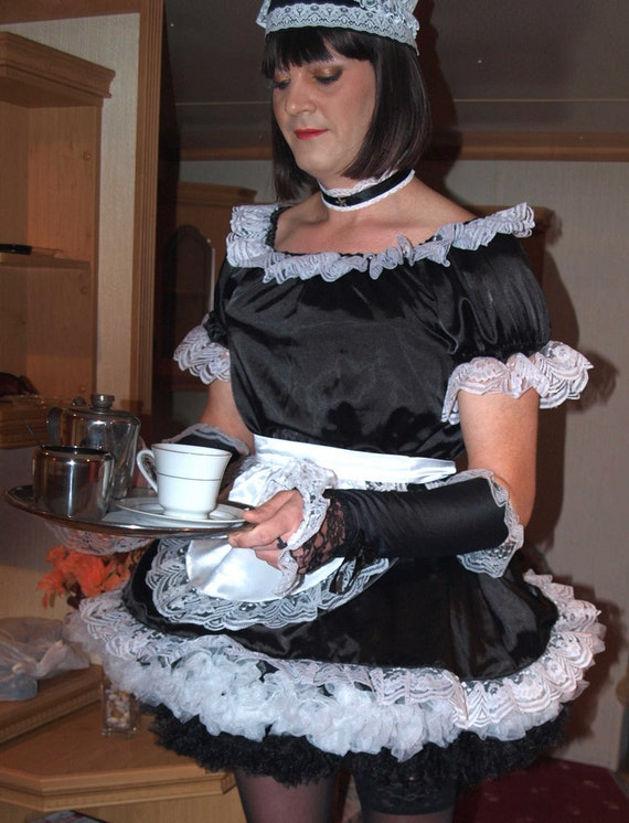 Professional Lockable Satin French Maid Uniform Not A Fancy