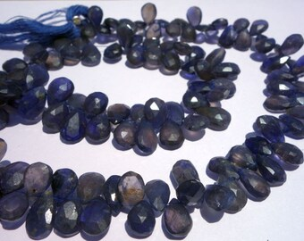 100% Natuaral IoliteFaceted Almond9x12x8x13mmLoose Gemstone Beads @DSC05593