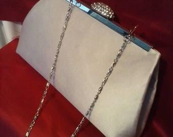 silver navy gray  satin wedding clutch purse gray blue satin wedding prom clutch BBsCustomClutches