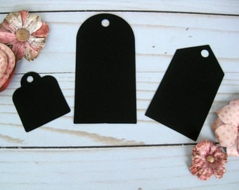 24 Plain Black Tags, Black Paper Tags, Party Favor Tags, Assorted Gift Tags, Blank Tags, Die Cut Tags, Black Bag Tags, Gift Wrap Tags