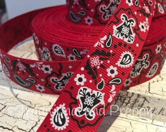 "7/8"" Western Red Bandana grosgrain ribbon"