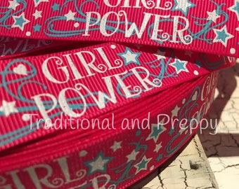 """3 yards 7/8"""" Girl Power Glitter grosgrain ribbom"""